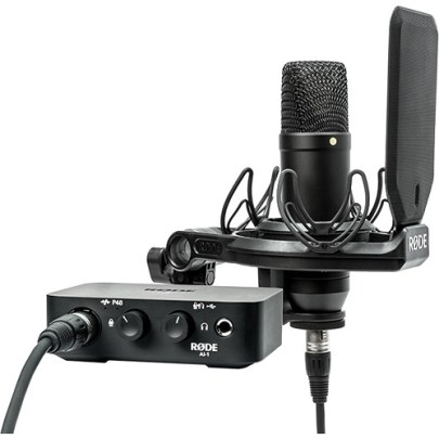 Rode Complete Studio Kit with AI-1 Audio Interface, NT1 Microphone, SMR Shockmount, and Cables Large Diaphragm Recording Microphones Rode