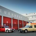 Rekord E Feuerwehr und Commodore C Krankenwagen Einsatzfahrzeuge zur Bodensee Klassik