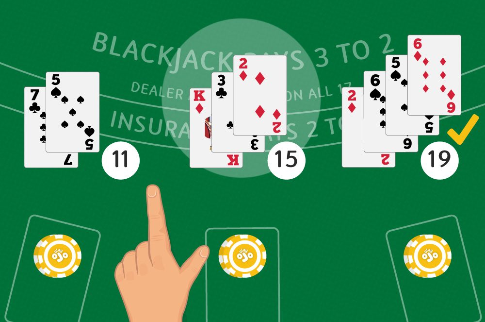 Players in action playing blackjack