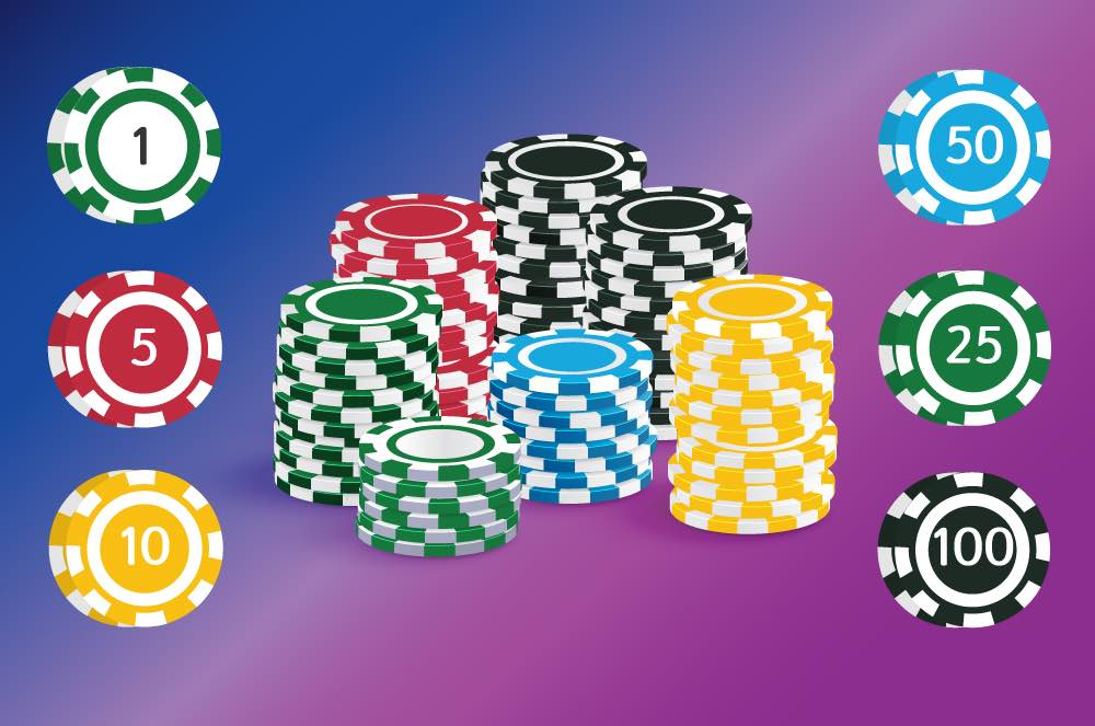 Blackjack chips values and stack of chips