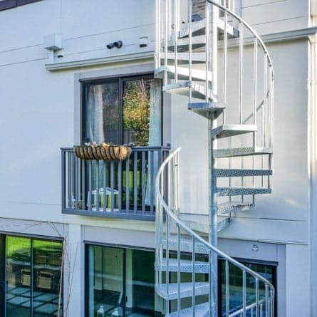 Outdoor Spiral Staircases Weatherproof Paragon Stairs | Outdoor Spiral Staircase Near Me | Staircase Ideas | Staircase Kits | Balcony Railing | Oak70 Xtra | Wrought Iron