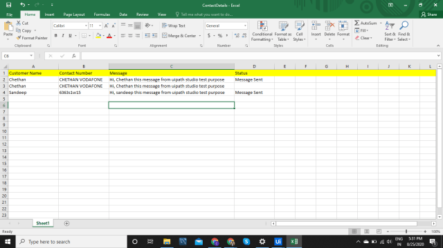 How to Write excel column sheet as message sent - Academy Feedback