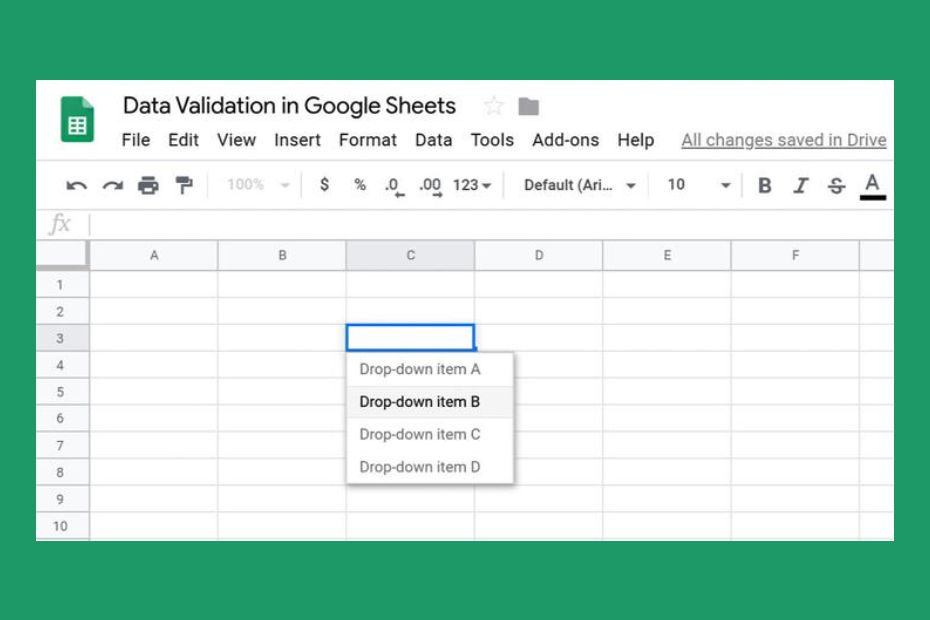 google sheets drop down 1