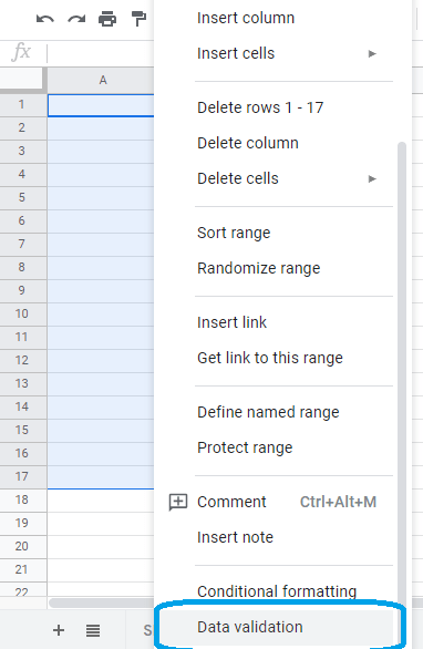 google sheets dropdown data validation