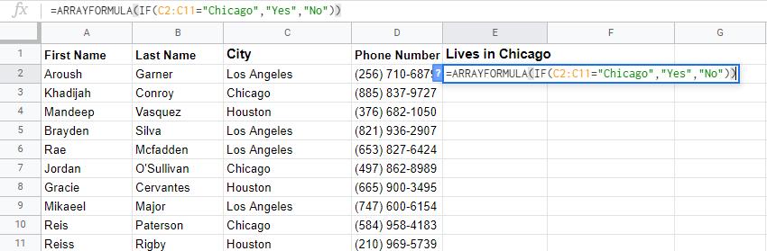 google sheets array formula