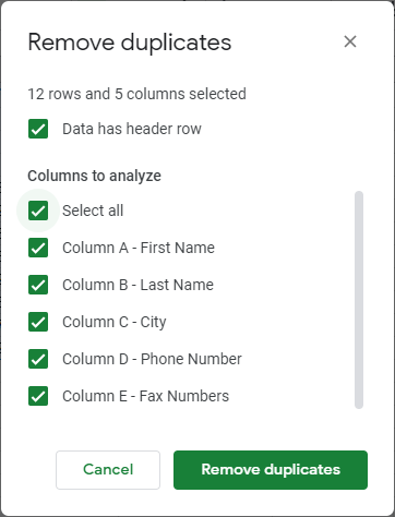 google sheets remove duplicates menu