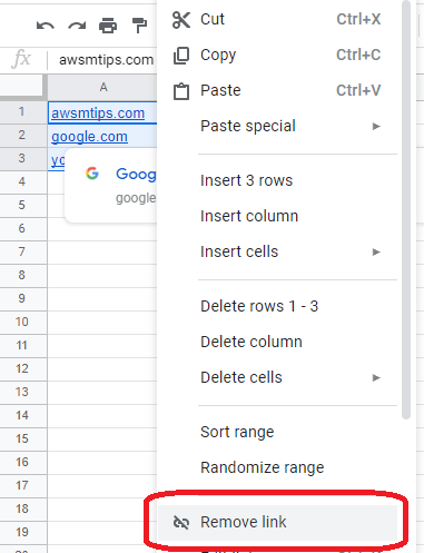 remove all hyperlinks google sheets