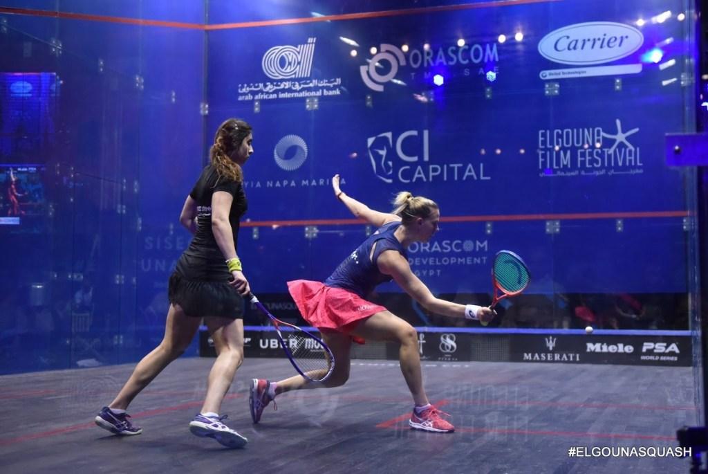 Squash coaching - Laura and Nour El Sherbini