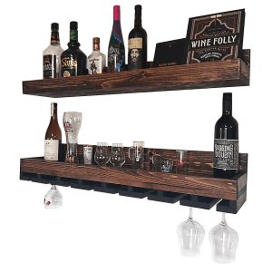 Spruce Liquor Display Cabinet Stained with Walnut