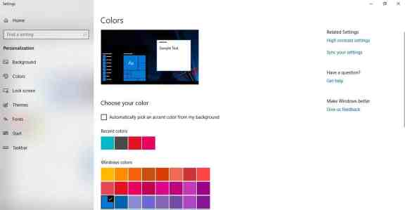 change color appearance windows