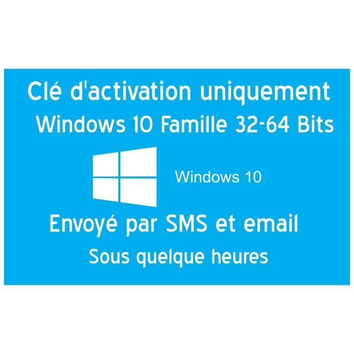 Clé d'activation licence original pour Windows 10 édition familiale 32-64 Bits Clé uniquement pas de CD