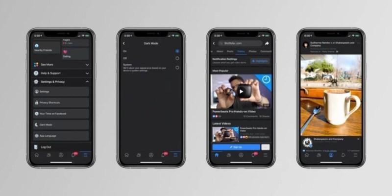 facebook mode sombre sur iphone x