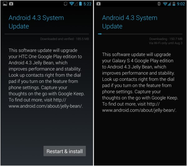 Android 4.3 Galaxy S4, Android 4.3 OTA update, OTA ANdroid 4.3 update, Android 4.3 HTC one