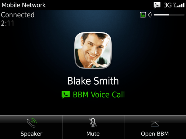 BBM Voice call options