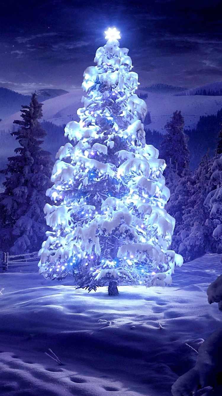 2014 lightened christmas tree iphone 6 wallpaper – snow-f39901