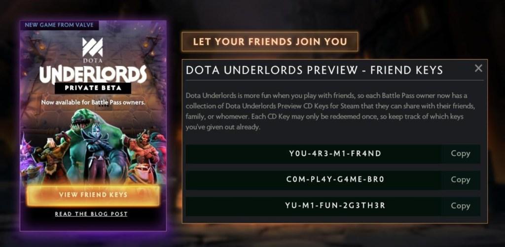 Dota Underlords Battle pass Friend Keys