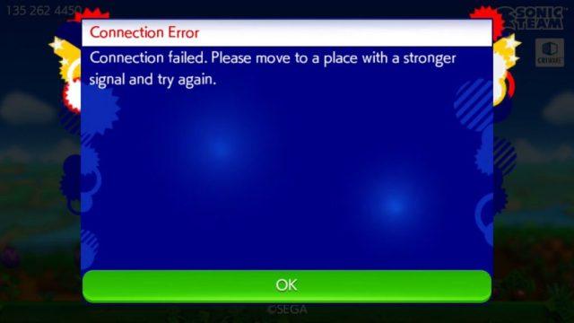 Sonic Runner Survival Connection Error