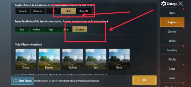 PUBG 90 fps settings for OnePlus 8 7 7T Pro