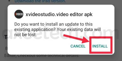 xvideostudio video editor apk install button