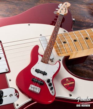 Officially Licensed Miniature Classic Red Fender™ Jazz Bass™ Guitar Replica