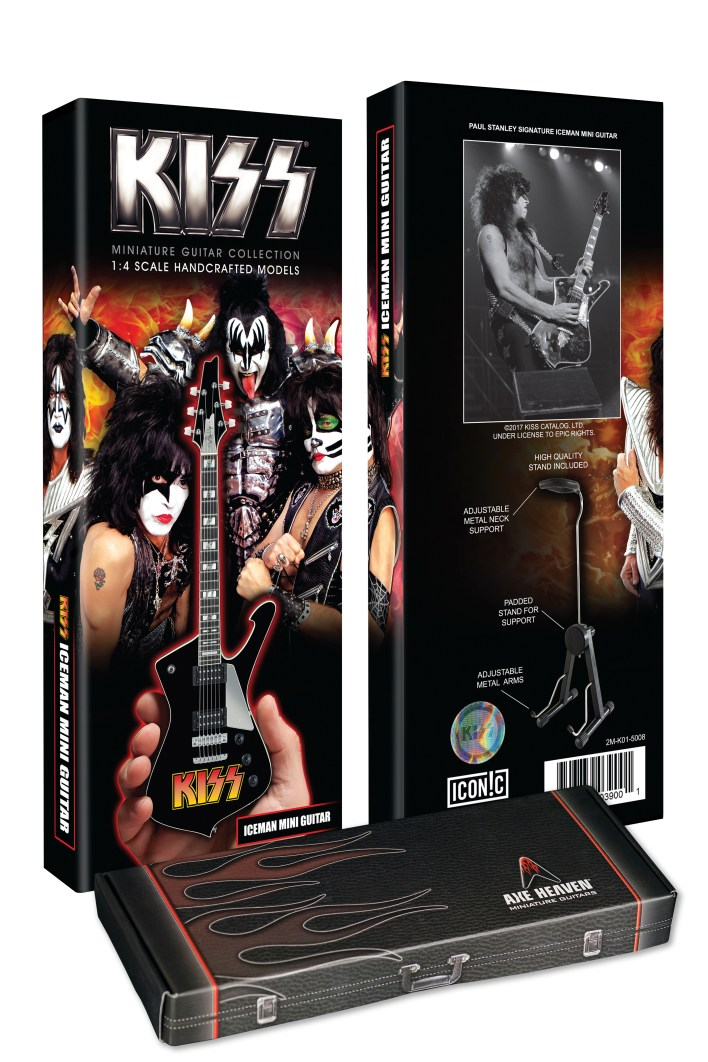 Custom Package for Officially Licensed KISS® Logo Paul Stanley Iceman Miniature Guitar Model