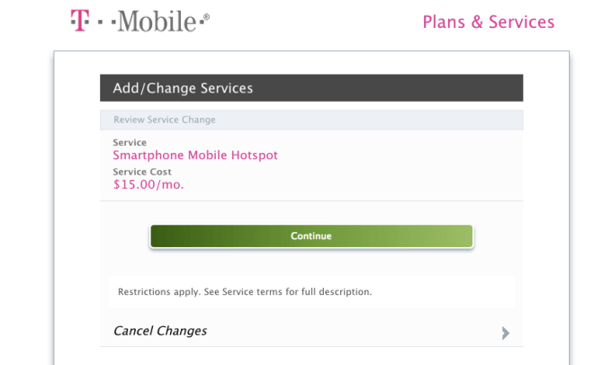 "The T-Mobile ""buy this package to use the data we already sold you"" screen"