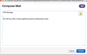 Compose all encrypted text in Mailvelope's dialog