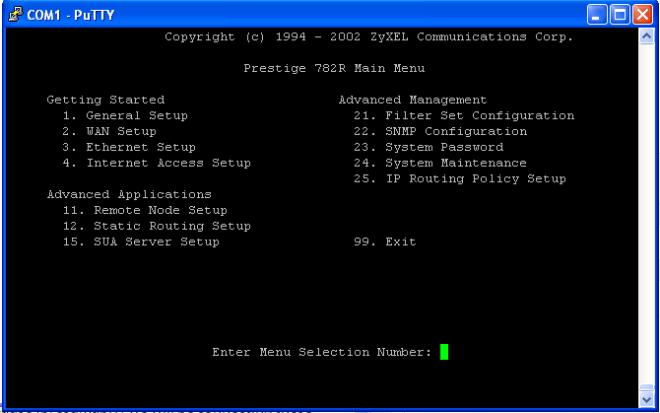 Serial Terminal Menu Screen