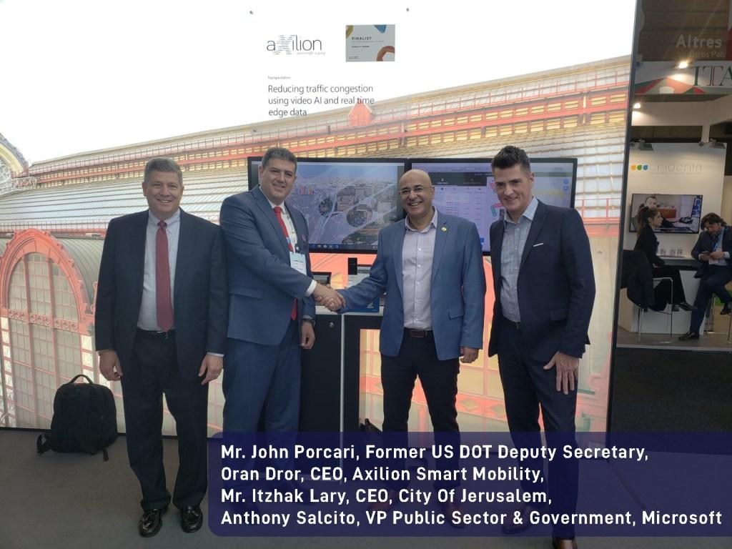 Mr. John Porcari, Former US DOT Deputy Secretary, Mr. Itzhak Lary, CEO, City Of Jerusalem, Oran Dror, CEO, Axilion Smart Mobility, Anthony Salcito, VP Public Sector & Government, Microsoft