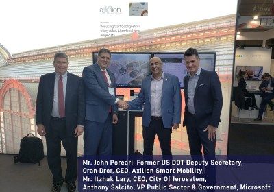 Mr. John Porcari, Former US DOT Deputy Secretary, Mr. Itzhak Lary, CEO, City Of Jerusalem, Oran Dror, CEO, Axilion Smart Mobility, Anthony Salcito, VP Public Sector & Government, Microsoft