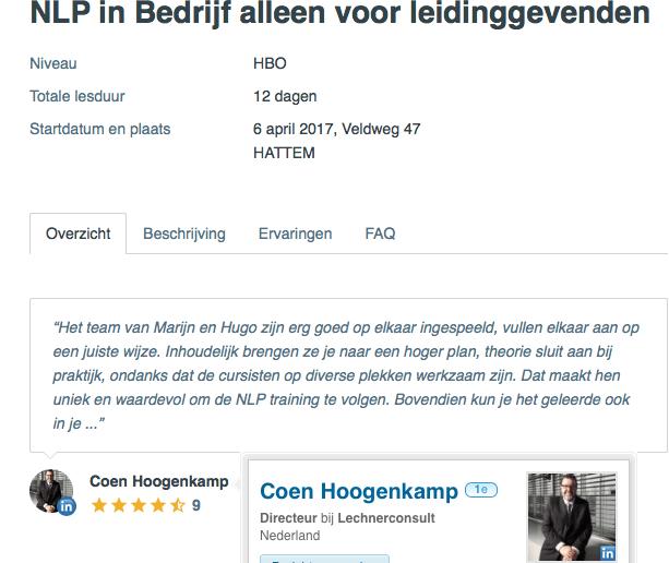 NLP in Bedrijf Lechnerconsult Coen Hoogenkamp