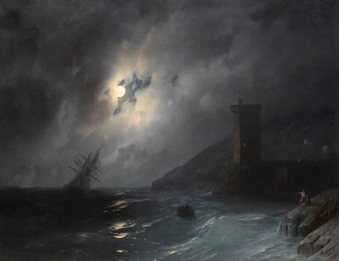 Ivan Konstantinovič Ajvazovskij (Russian, 1817-1900), Лунный берег:Moonlit coast (1864) Oil on canvas, 56 x 80 cm Private collection