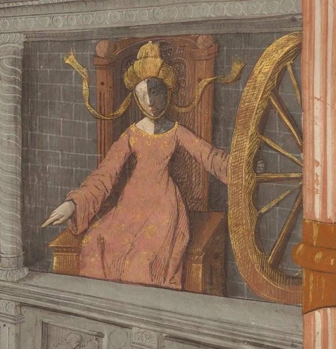 Fortune's Wheel, from Cy commance le livre du gouvernement des princes fait de frere Gilles Romain, de l'ordre des freres hermites de saint Augustin