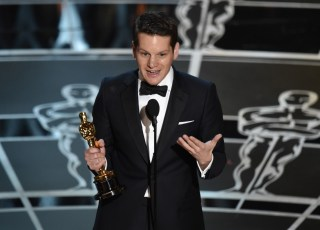 Graham Moore during his acceptance speech for Adapted Screenplay
