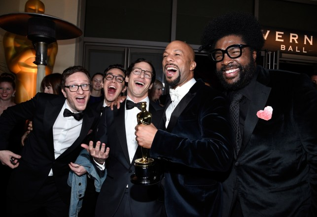 From left to right, Lonely Island, Common and Questlove