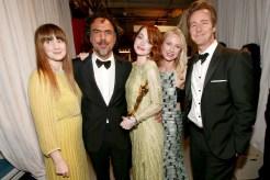 From left to right, Andrea Riseborough, director Alejandro González Iñárritu, Emma Stone, Naomi Watts, and Edward Norton