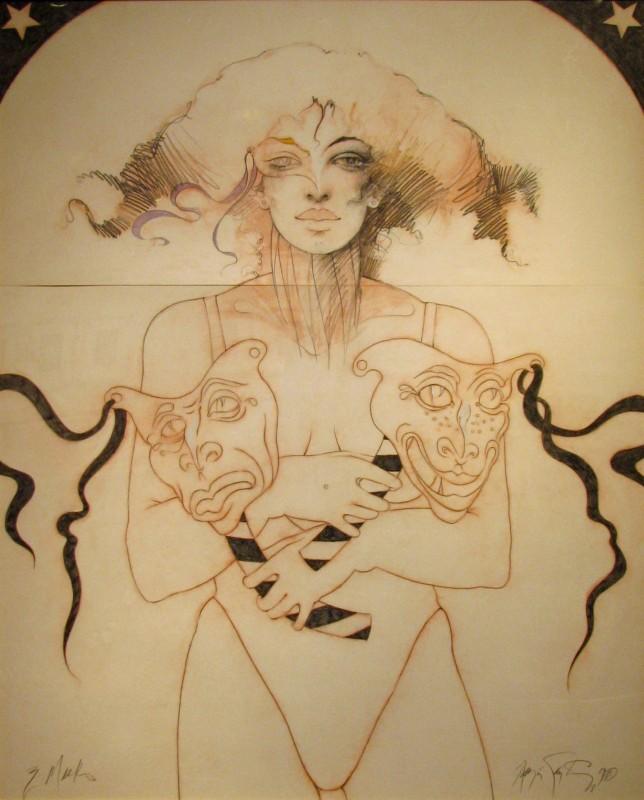 Masks, 1988, mixed media drawing, c. 40 x 50 inches