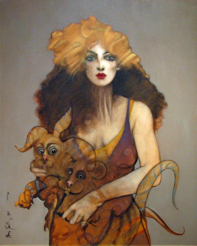 Santiago_Sabrina & Animals_1989_Oil on Canvas