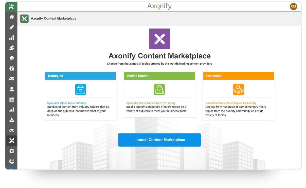 Content marketplace screen