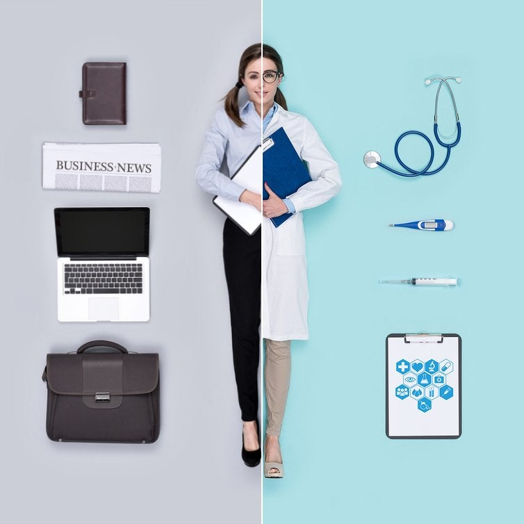 Divided image showing a woman in business attire with a computer on one side, and wearing a lab coat with medical devices on the other