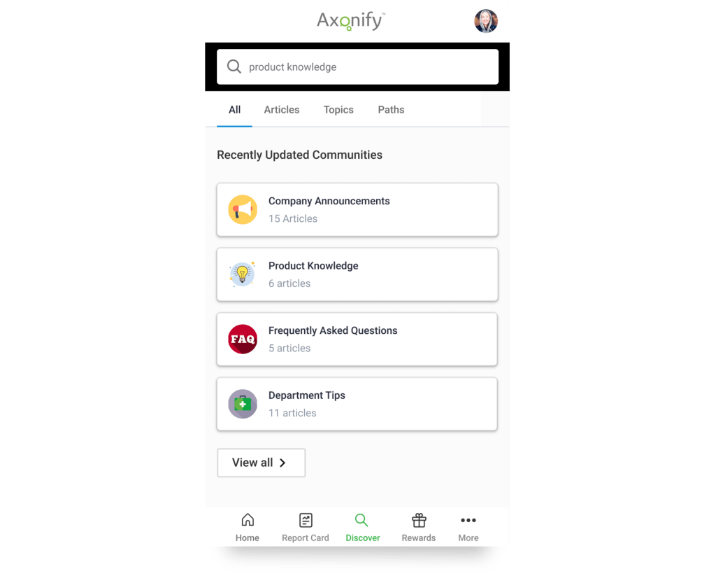 Mobile screenshot of Axonify platform showing Discover topics.