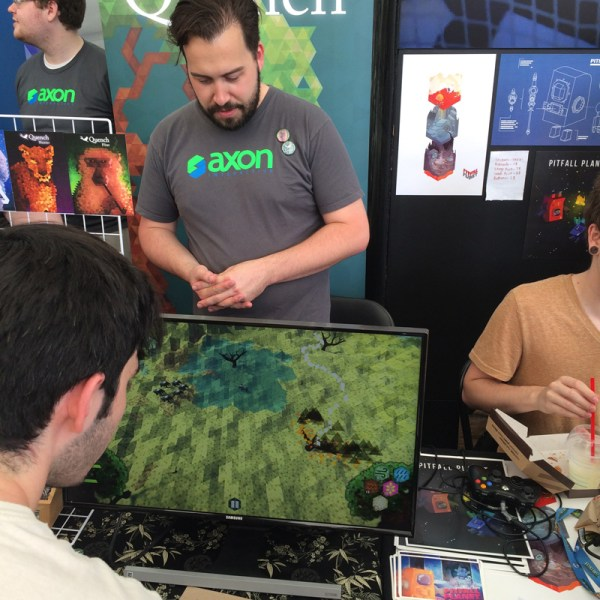 Jeff explaining how to play at the Bit Bazaar 6 booth