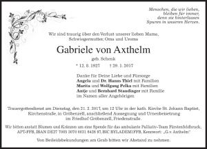 Obituary Gabriele von Axthelm