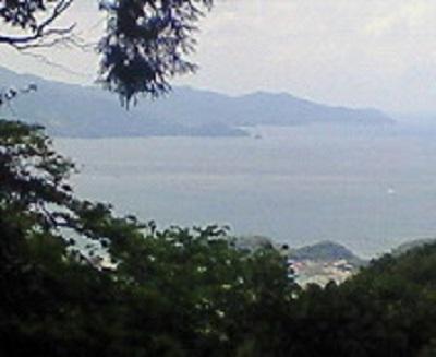 松尾峠手前から望む宿毛湾。