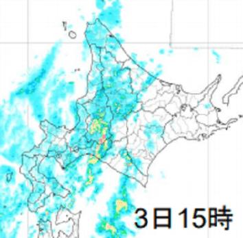 9/3の北海道の雨雲の様子