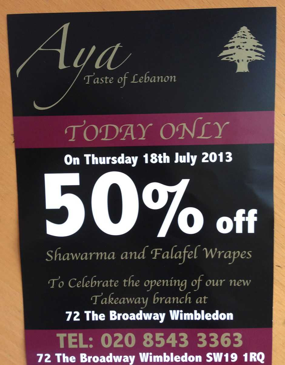 Aya Special Offer 50% Off