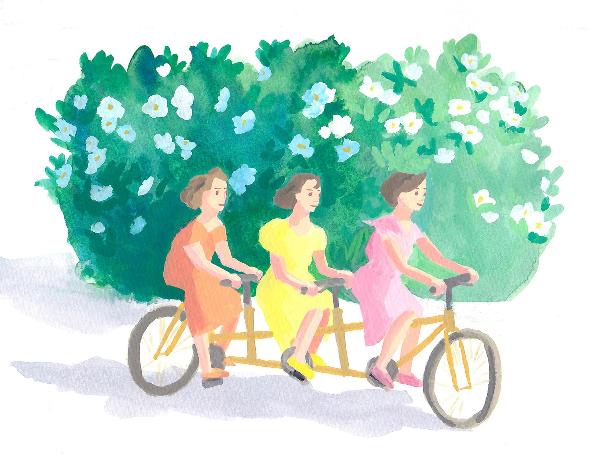 白い花 自転車 女性