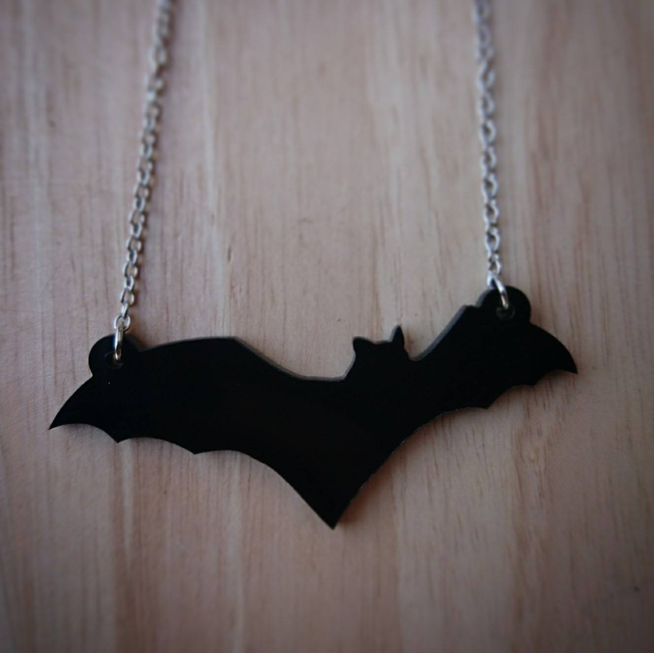 Ayame Designs laser cut perspex bat necklace
