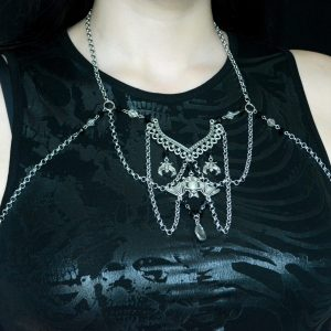 Ayame Designs handcrafted gothic bat body chain