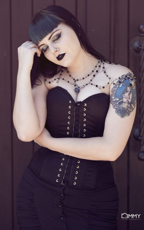 Ayame Designs handcrafted gothic bridal shoulder necklace